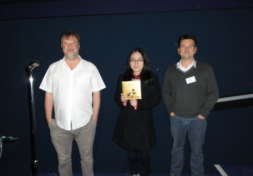 Feedback prize winner Ms Yingying Xu (The University of Hong Kong) with co-chairs Dr Nigel Temperton (Universities of Greenwich and Kent at Medway,UK) and Dr Simon Scott (University of Kent,UK)
