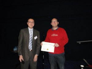Dr Konstantinos Beis (Imperial College London Membrane Protein Lab RCaH,London,UK) and poster prize winner Dr Sander Smits (University Heinrich Heine University Düsseldorf, Germany)