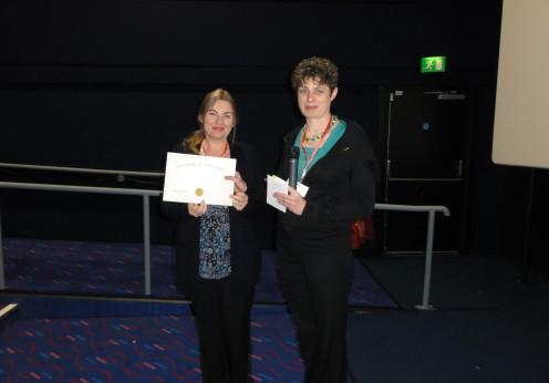 Poster prize winner Dr Dorota Ortenburger (Jan Dlugosz University, Czestochowa, Poland) with the Chair, Dr Clare Rusbridge
