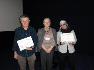 Poster prize winners Dr Steven Bell and Mrs Eman Abdelhafiz Eldeeb with (centre)Professor Elena Orlova (Birkbeck College, London, UK)