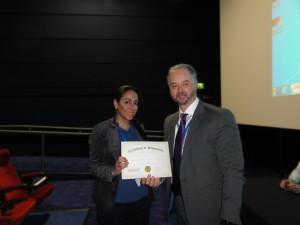 Poster winner Dr Samira Tansaz (University Of Erlangen-Nuernberg, Germany) and Professor Steven Percival (University of Liverpool, UK)