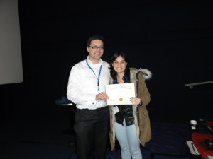 Dr Andrew Tee (Cardiff University, UK )and poster prize winner Jacqueline Silva