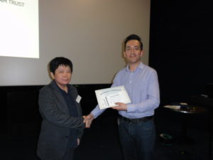 Poster prize winner, Dr An Ning Cheng (NHRI, Taiwan) with Dr Nikolaos Georgopoulos (University of Huddersfield, UK).