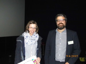 Poster prize winner Mrs Barbora Hermankova and Prof Giuseppe Battaglia
