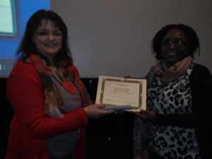 Dr Heather Allison (Chair day 3) and poster prize winner Mrs Irene Mutuku